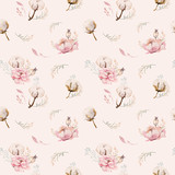 Seamless spring lilac watercolor floral pattern on a white background. Pink and rose flowers, weddind decoration illustration. - 207669610