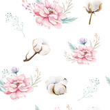 Watercolor seamless floral pattern with cotton. Bohemian natural patterns: leaves, feathers, flowers, rose boho white background. Artistic decoration illustration. Textile design - 207669667