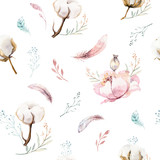 Watercolor seamless floral pattern with cotton. Bohemian natural patterns: leaves, feathers, flowers, rose boho white background. Artistic decoration illustration. Textile design - 207671058