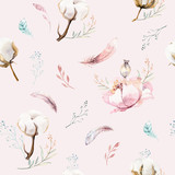Watercolor seamless floral pattern with cotton. Bohemian natural patterns: leaves, feathers, flowers, rose boho white background. Artistic decoration illustration. Textile design - 207671644