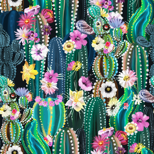 Hand painted blooming cactus, cacti, succulents, colofrul seamless pattern. Abstract cactuses with flowers, florals - 207673273