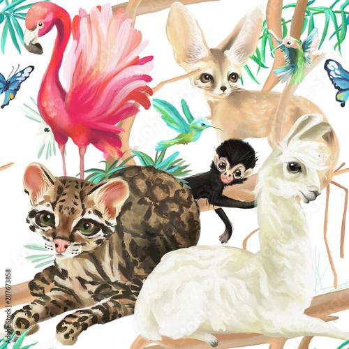 tropikalny-wzor-flaming-kot-ocelot-lama-malpa-i-fenek-lis-z-kolibry-i-motyle