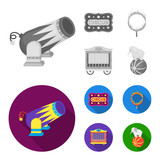 Circus trailer, circus gun, burning hoop, signboard.Circus set collection icons in monochrome,flat style vector symbol stock illustration web. - 207674057