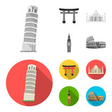 Sights of different countries monochrome,flat icons in set collection for design. Famous building vector symbol stock web illustration. - 207674073