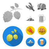 Alps, a barrel of beer, lobster, hops. Oktoberfest set collection icons in monochrome,flat style vector symbol stock illustration web. - 207674406
