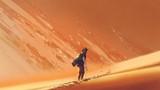 male hiker walking on sand desert, digital art style, illustration painting - 207674424