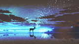 silhouette of the deer walking on water against night sky with blue light, digital art style, illustration painting - 207674437