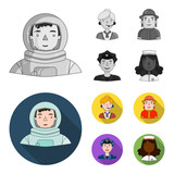 An astronaut in a spacesuit, a co-worker with a microphone, a fireman in a helmet, a policeman with a badge on his cap. People of different professions set collection icons in monochrome,flat style