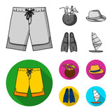 Swimming trunks, cocktail with coconut, panama and flippers. Surfing set collection icons in monochrome,flat style vector symbol stock illustration web. - 207674886