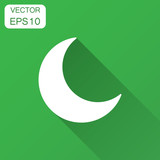 Nighttime moon vector icon in flat style. Lunar night illustration with long shadow. Moon business concept.