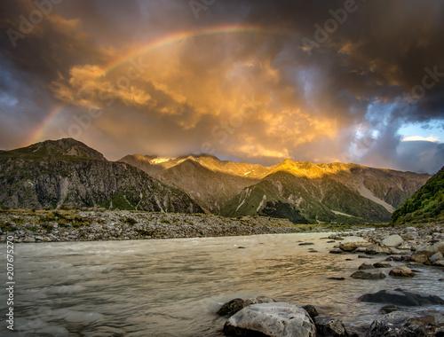 Fotobehang Chocoladebruin Landscape. Moody clouds and storm. Mount cook aoraki national park.