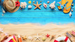 Beach Accessories On Blue Plank And Sand - Summer Holiday Background