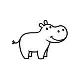 Cute cartoon hippo - 207680241