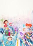 Watercolor school background - 207682412