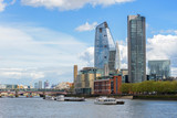 Panorama of south bank of the Thames River in London
