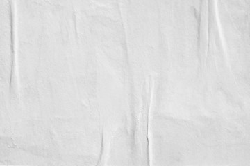 White blank crumpled paper texture background creased old poster texture backdrop surface empty for text