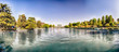 Panoramic view over the lake of EUR in Rome, Italy