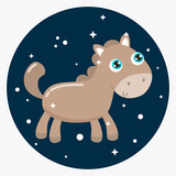 Cute little horse vector illustration. Flat design.
