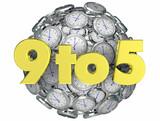9 to 5 Working Job Hours Nine Five Clocks 3d Render Illustration - 207689866