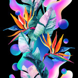 Abstract soft gradient blur, colorful fluid and geometric shapes, watercolor palm drawing. - 207693000
