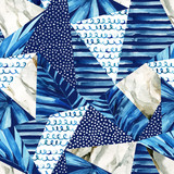 Abstract geometric background in marine style. Watercolor triangle seamless pattern - 207693018
