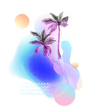 Abstract soft gradient blur, colorful fluid and geometric shapes, watercolor palm drawing. - 207693044