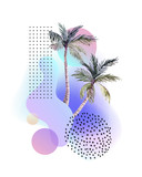 Abstract soft gradient blur, colorful fluid and geometric shapes, watercolor palm drawing. - 207693066