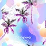 Abstract soft gradient blur, colorful fluid and geometric shapes, watercolor palm drawing. - 207693090