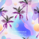 Abstract soft gradient blur, colorful fluid and geometric shapes, watercolor palm drawing. - 207693094