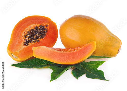 Foto Murales Papaya fruits isolated on white background.