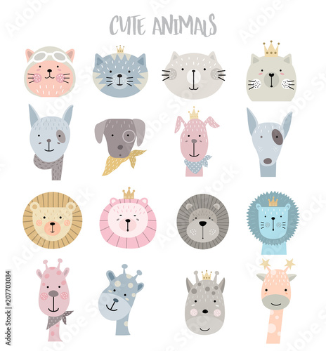 Cartoon animal icons set for t-shirt, print, product, flyer ,patch, fabric, textile,tile,card, greeting fashion,baby, kid, shower, powder,soap, hand drawn style. vector illustration