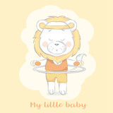cute baby lion with sport cartoon  for t-shirt, print, product, flyer ,patch, fabric, textile,tile,card, greeting  fashion,baby, kid, shower, powder,soap, hand drawn style. vector illustration - 207703496