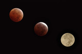 Three stages during the lunar eclipse that took place on October 8, 2014 as seen from Pasadena, California.