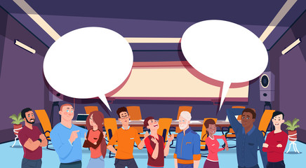 casual people group chat communication bubble, businesspeople discussing communication social network flat vector illustration © mast3r
