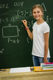 Beatiful smiling pupil in classroom at the elementary school, back to school. - 207705213