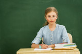 Beatiful smiling pupil in classroom at the elementary school, back to school. - 207705253