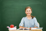 Beatiful smiling pupil in classroom at the elementary school, back to school. - 207705296