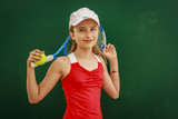 Tennis young girl player on court. - 207705421