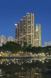Residential district of Hong Kong city at night - 207705456