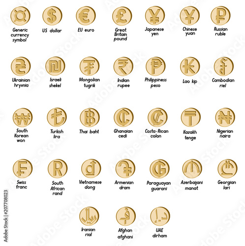 Set Of Basic Symbols Of The World Currency Buy Photos Ap Images