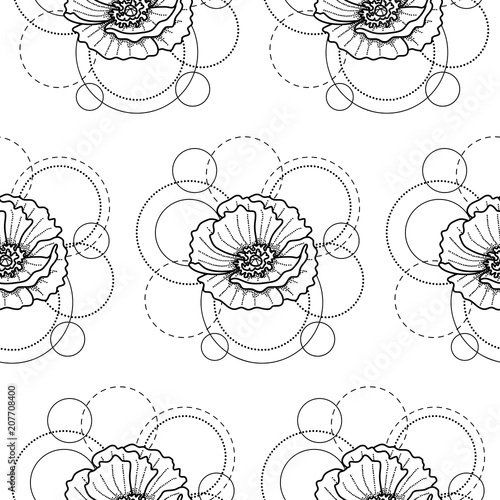 Seamless pattern with poppy and circles on white background