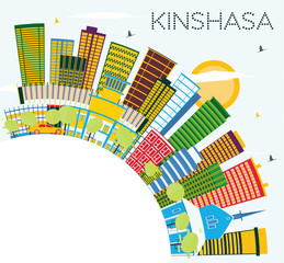 Kinshasa Skyline with Color Buildings, Blue Sky and Copy Space.