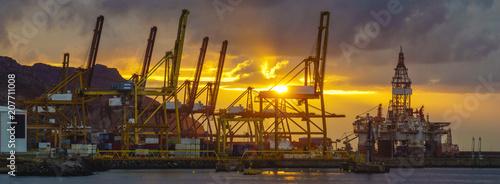 sunrise over the sea trading port