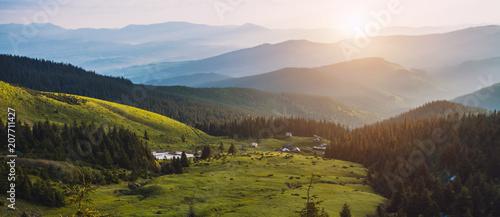 beautiful sunrise in the Carpathian mountains - 207711427