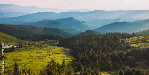 Fotobehang Zonsopgang beautiful sunrise in the Carpathian mountains