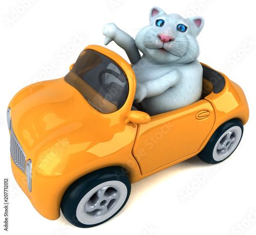 Fotobehang Auto Fun cat - 3D Illustration