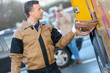 Leinwanddruck Bild - car two worker