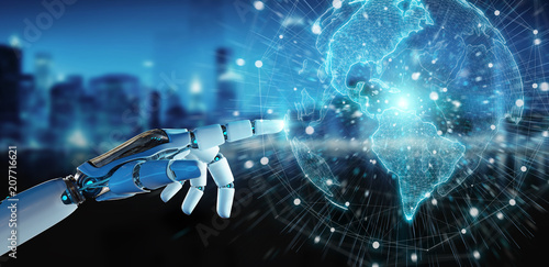 White cyborg hand using planet Earth interface 3D rendering © sdecoret