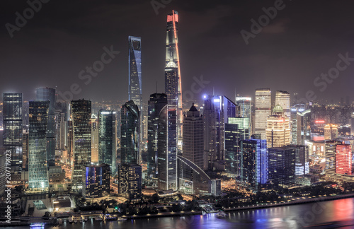 Fotobehang Shanghai Shanghai skyline and cityscape at night