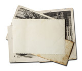 Stack of old photos. Isolated on white background with clipping path included. - 207720404